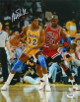 Magic Johnson signed Los Angeles Lakers 16x20 Photo (yellow jersey post up vertical vs Michael Jordan) -PSA Hologram