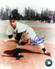 Johnny Podres signed Brooklyn Dodgers 8x10 Pitching Photo 55 WS MVP (follow through- deceased)