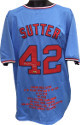 Bruce Sutter signed Light Blue TB Custom Stitched Baseball Jersey HOF 2006 w/ Embroidered Stats XL