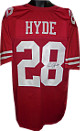 Carlos Hyde signed Red Custom Stitched Pro Style Football Jersey #28 XL (black sig)- JSA Hologram