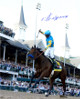 American Pharoah signed 16x20 Photo 2015 Kentucky Derby Horse Racing Triple Crown with Victor Espinoza- Steiner Hologram