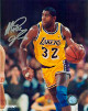 Magic Johnson signed Los Angeles Lakers 16x20 Photo (yellow jersey vertical close up)