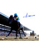 American Pharoah signed 8x10 Photo 2015 Belmont Stakes Leading Pack Horse Racing Triple Crown with Victor Espinoza-Steiner Holo