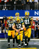 Aaron Rodgers signed Green Bay Packers 8X10 Photo (SB XLV-Discount Double Check Celebration-center sig)