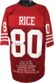Jerry Rice signed San Francisco 49ers Red Prostyle TB Jersey w/ Embroidered Stats- JSA Hologram