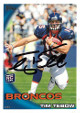 Tim Tebow signed Denver Broncos 2010 Topps Rookie Trading Card #15