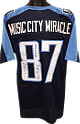 Music City Miracle Kevin Dyson signed Tennessee Titans Navy Prostyle Jersey XL w/ triple Music City Miracle, 1/8/00 & AFC Champs