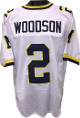 Charles Woodson Michigan Wolverines unsigned White Custom Jersey XL (yellow/navy neck trim)