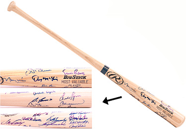 Orlando Cepeda signed Major League Baseball Most Valuable Players (MVP) Engraved Rawlings Ash Bat w/ 19 signatures (Cardinals)
