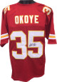 Christian Okoye signed Red TB Custom Stitched Pro Style Football Jersey XL- JSA Hologram