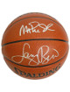 Larry Bird Dual signed Spalding I/O TB NBA Basketball w/ Magic Johnson (silver sigs Magic over Bird)- Bird Hologram (Boston Celt