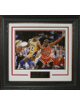 Magic Johnson & Michael Jordan unsigned Los Angeles Lakers/Chicago Bulls 11x14 Photo Leather Framed V-Groove Premium Matting
