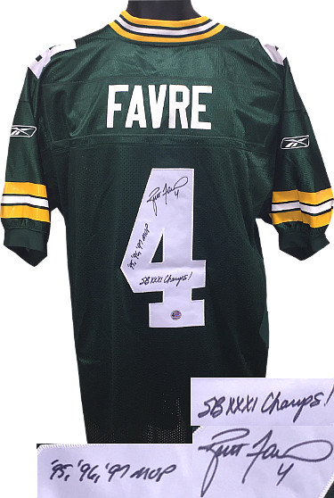 Brett Favre signed Green Bay Packers Green Reebok Authentic Jersey w/ dual SB Champs & '95, '96, 97 MVP (insc middle)-Favre Holo