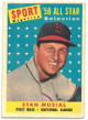 Stan Musial 1958 Topps NL All Star St. Louis Cardinals Baseball Trading Card #476- OC- average wear