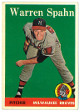 Warren Spahn 1958 Topps Milwaukee Brewers Baseball Trading Card #270- very minor corner wear