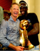 Steve Kerr signed Golden State Warriors 8x10 Photo (Holding 2017 NBA Champs trophy w/ Draymond Green)
