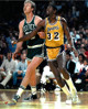 Larry Bird signed Boston Celtics 8x10 Photo (vs Magic Johnson)- PSA/JSA/BAS Guaranteed To Pass
