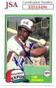 Tim Raines signed 2001 1981 Topps Reprint Baseball Card #816- JSA #HH18496 (Montreal Expos)