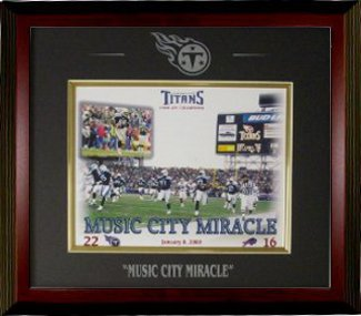 Music City Miracle unsigned Tennessee Titans 16x20 Photo Custom Engraved Framed (Mahogany)