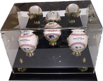 Baseball 3-Ball Deluxe Acrylic Gold Glove Display Case, 2-tier Risers, mirror back