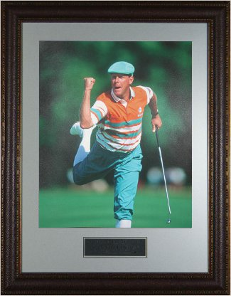 Payne Stewart PGA Golf 11x14 Photo Fist Pump/Leg Kick - Custom Brown Leather Framing