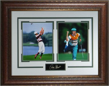 Payne Stewart PGA Tour 2 Photo Engraved Signature Series 21x25 Premium Leather Framing