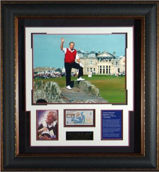 Jack Nicklaus Farwell at St. Andrews 16x20 Photo Premium Leather Framing w/ British 5 Pound Note