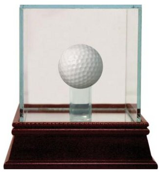 Golf Ball - Steiner Sports Deluxe Glass Display Case w/ Cherry Wood Base & Mirror Bottom
