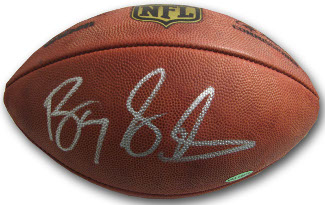 Barry Sanders signed Official Wilson NFL Duke Leather Football- Upper Deck Hologram (silver sig)