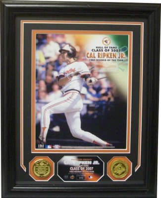 Cal Ripken, Jr. Baltimore Orioles 82 Rookie of the Year 8x10 Photo Custom Framing w/ 2 Highland Mint Coins