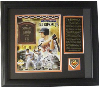 Cal Ripken, Jr. Baltimore Orioles Hall of Fame Collage 8x10 MLB Photo Custom Framing w/ Collector's Pin
