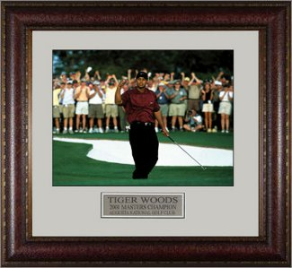 Tiger Woods 2001 Masters At Augusta Fist Pump 16X20 Photo - Premium Leather Framing