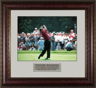 Tiger Woods 2002 U.S. Open at Bethpage 16X20 Photo Custom Leather Framing