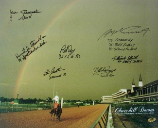 Swale signed Churchill Downs Kentucky Derby Winners (1984) Horse Racing Rainbow 16x20 Photo 7 signatures
