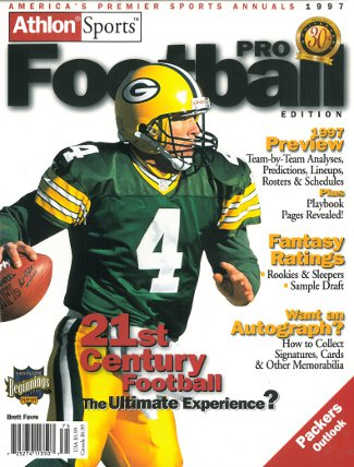 Brett Favre unsigned Green Bay Packers Athlon Sports 1997 NFL Pro Football Preview Magazine