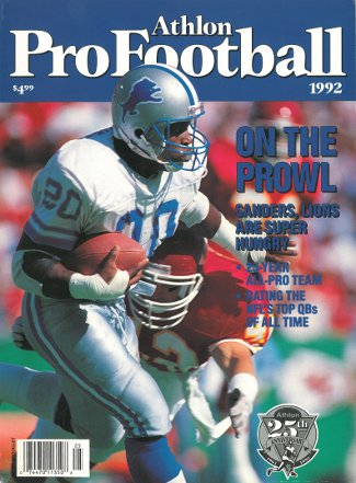 Barry Sanders unsigned Detroit Lions Athlon Sports 1992 NFL Pro Football Preview Magazine