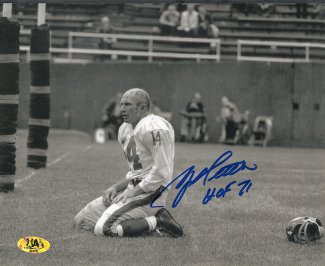 YA Tittle signed New York Giants Blood Sepia Horizontal 16X20 Photo HOF 71