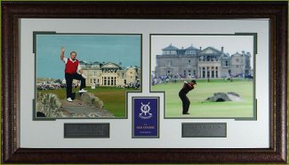 Jack Nicklaus unsigned 2005 British Open Old Course 2 Photo Leather Framed 17x31 w/Tiger Woods w/ Scorecard