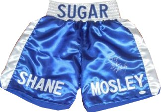 Sugar Shane Mosley signed Blue Satin Boxing Trunks