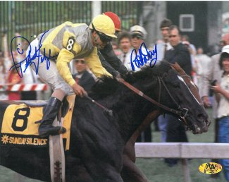 Pat Day signed Preakness Stakes at Pimlico Horse Racing 8x10 Photo w/Valenzuela