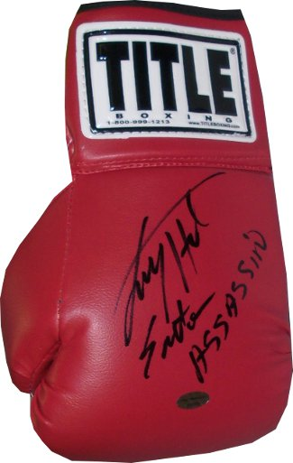 Larry Holmes signed Title Left Boxing Glove Easton Assassin