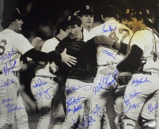 Bruce Hurst signed Boston Red Sox 16x20 B&W Photo 1986 AL Champs w/ 19 Signatures