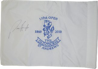 Padraig Harrington signed 2010 Open Championship 139th (British Open) Flag at Old Course at St Andrews- Beckett Hologram