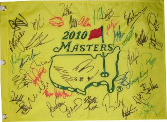 Masters signed 2010 18x13 PGA Golf Pin Flag 40 Sigs- Nick Faldo/Zach Johnson/Lee Westwood/David Toms- Beckett LOA #A84662