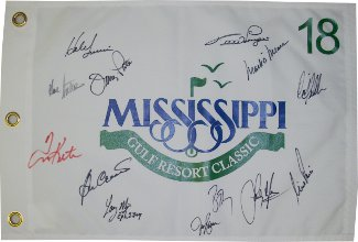 Mississippi Gulf Resort Classic signed 2010 19x13 Pin Flag 13 sigs-Nick Price/Larry Mize/Mark O'Meara/Tom Kite- Beckett Holo