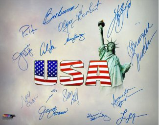 Olympic Winners signed 16x20 Photo (white) w/ 15 sigs- BAS Holo-Nancy Kerrigan/Mark Spitz/Carl Lewis/Sheryl Swoopes-14 Team USA