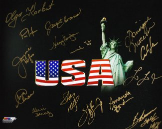 Olympic Winners signed 16x20 Photo (black USA) w/ 15 sigs- BAS Holo- Nancy Kerrigan/Mark Spitz/Carl Lewis/Sheryl Swoopes