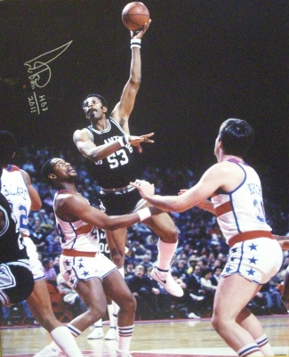 Artis Gilmore signed San Antonio Spurs 16x20 Photo HOF 2011 vs Bullets