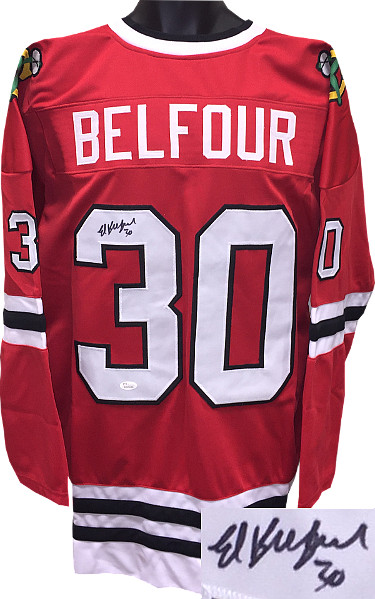Ed Belfour signed Red TB Custom Stitched Hockey Jersey #30 XL- JSA Hologram