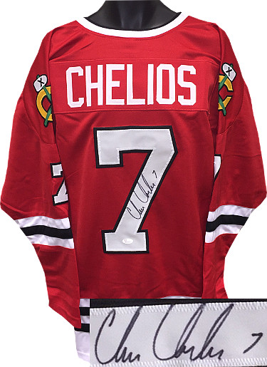 Chris Chelios signed Red TB Custom Stitched Hockey Jersey #7 XL- JSA Hologram